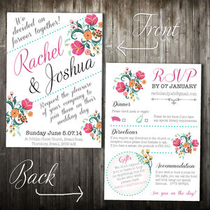 Personalised Vintage Wedding Invitation - invitations