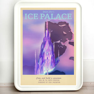 Disney Frozen Ice Palace Retro Travel Print