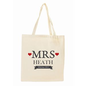 Personalised 'Mrs' Tote Bag