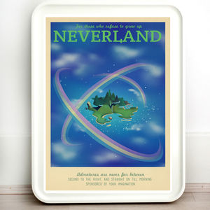 Disney Neverland Pan Retro Travel Print - children's pictures & paintings