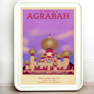 Disney Agrabah Aladdin Retro Travel Print