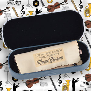 Music Teacher's Glasses Case With Personalised Cloth