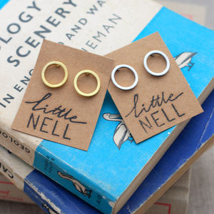 Silver Or Gold Karma Circle Stud Earrings - women's sale