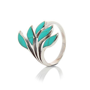 Adjustable Turquoise Silver Leaf Ring