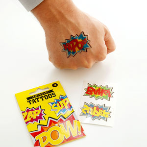 Comic Temporary Tattoos - fancy dress