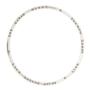 Poem Silver Bangle - flower girl jewellery