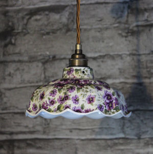 Avalon Pansy Pattern Ceramic Pendant Light - lighting
