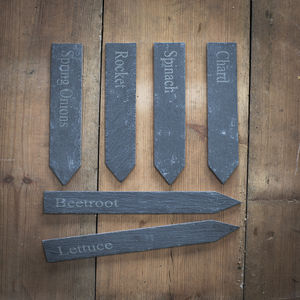 Set Of Six Slate Vegetable Garden Markers - shop by price