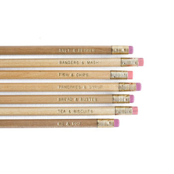 Set Of Six 'Me And You' Wedding Pencils