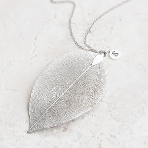 Caitlan Personalised Leaf Pendant Necklace - under £25