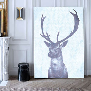 Stag Blue, Canvas Art - winter wildlife art