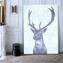 Stag Blue, Ready To Hang Canvas Art