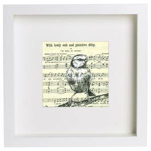'Plaintive Ditty' Music Paper Ink Drawing - paintings & canvases