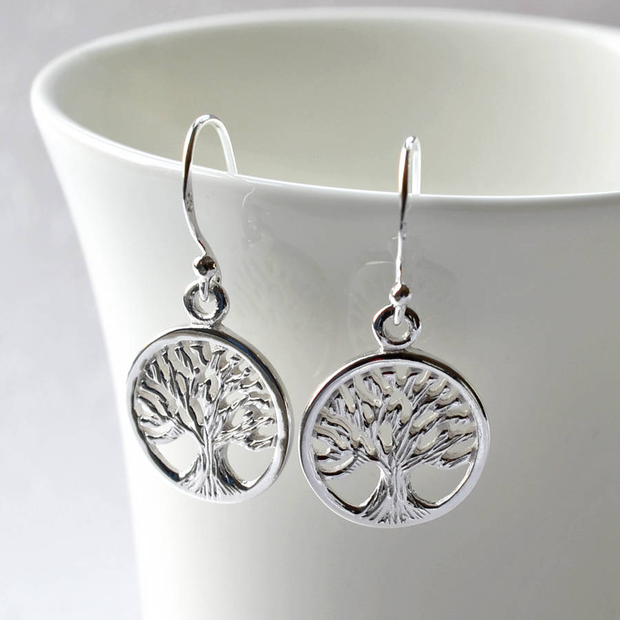 Silver Tree Of Life Earrings By Martha Jackson Sterling