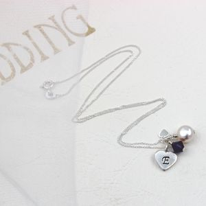 Bridesmaid's Silver Heart And Crystal Necklace
