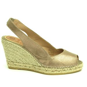 Metallic Peep Toe Espadrilles In Rose Gold Or Silver