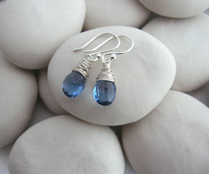 Deep Blue Quartz Drop - earrings