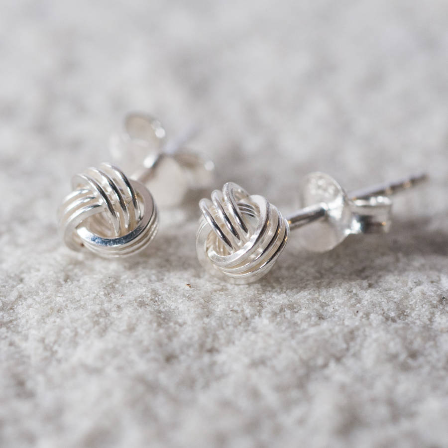 102ee7ae0 tying the knot stud earrings by oh so cherished | notonthehighstreet.com