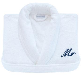 Personalised Embroidered White Towelling Dressing Gown