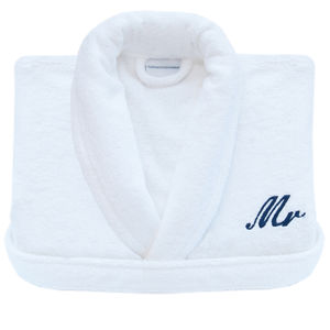 Personalised Embroidered White Towelling Dressing Gown - nightwear