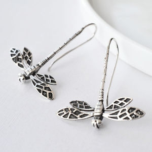 Silver Dragonfly Earrings - earrings
