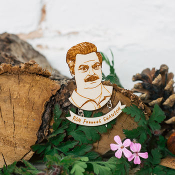 'Ron Swanson' Parks And Rec Brooch