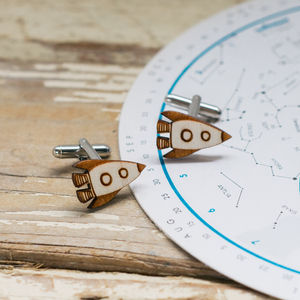 Rocket Ship Wooden Cufflinks - men's jewellery