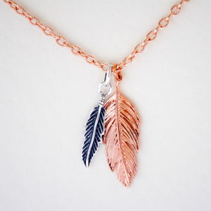 Rose Gold And Silver Feathers Necklace - women's jewellery