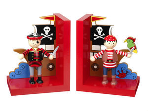 Wooden Pirate Bookends - children's room