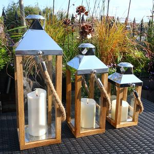 Wooden Edge Rope Handle Hurricane Lantern - lighting