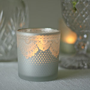 Frosted Tea Light Holders With Lace - table decoration