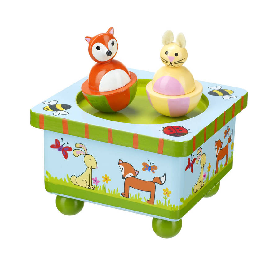 wooden dancing woodland animals music box by posh totty designs ...