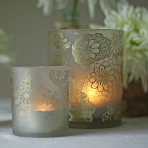 Frosted Tea Light Holders With Floral Design - candles & candle holders