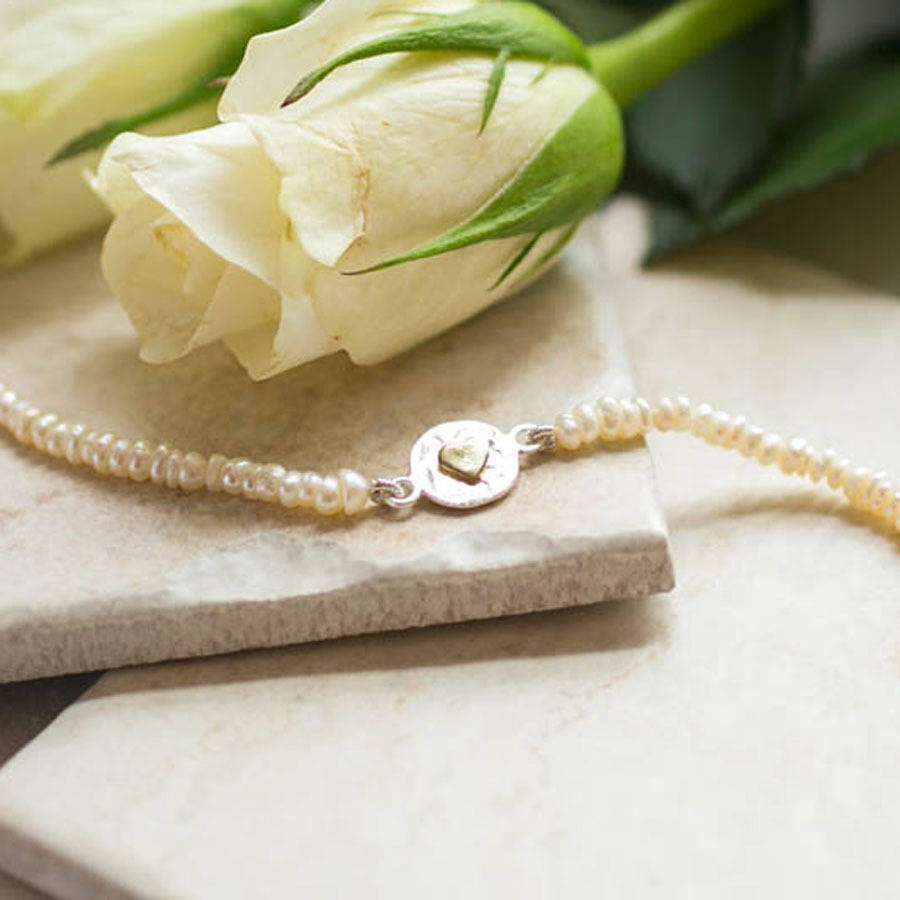 Lovethelinks Sterling Silver Pearl Heart Bracelet