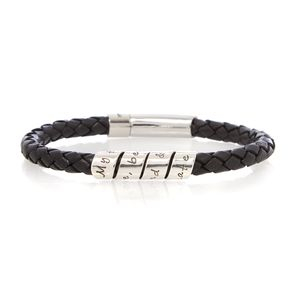 Men's Love Scroll Black Leather Bracelet