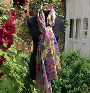 Large 'Colourful Butterfly' Pure Silk Scarf - hats, scarves & gloves