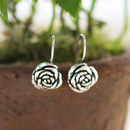 Sterling Silver Rose Flower Hook Earrings