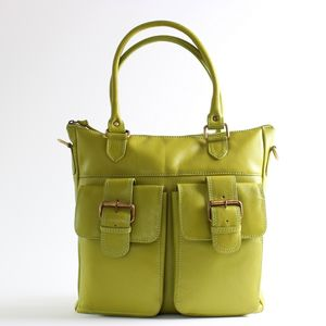 Pistachio Green Leather Shopper Bag