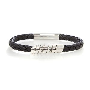 Lyric Black Men's Leather Scroll Bracelet - men's jewellery