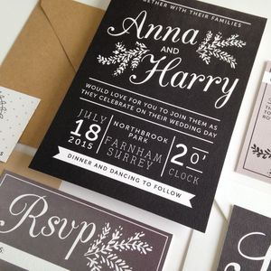 Chalkboard Wedding Invitation - invitations