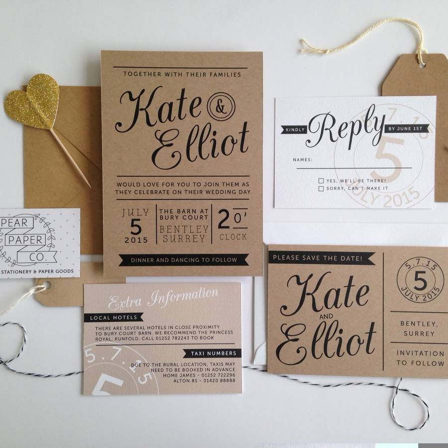 kraft stamp wedding invitation by pear paper co ...
