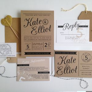 Kraft Stamp Wedding Invitation - wedding stationery
