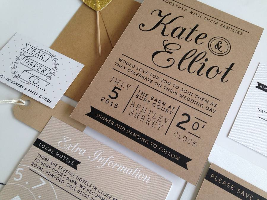 kraft stamp wedding invitation by pear paper co,