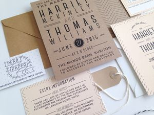 Chevron Type Wedding Invitation - shop by price
