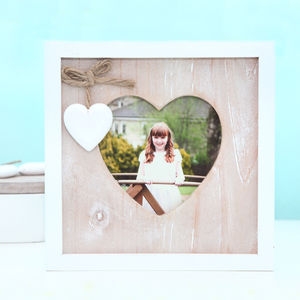 Wooden Heart And Square Photo Frame - picture frames