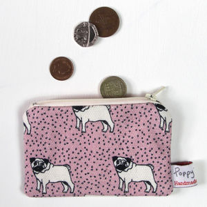Pug Small Zipped Purse - purses