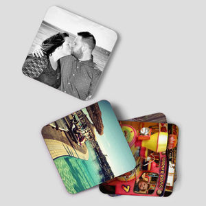 Set Of Four Personalised Photo Drink Coasters - table decorations