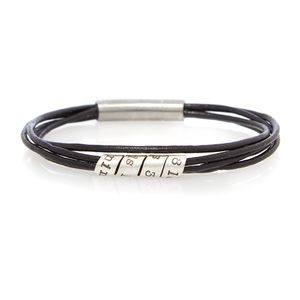 Eight Letters Black Soho Men's Leather Bracelet - men's jewellery