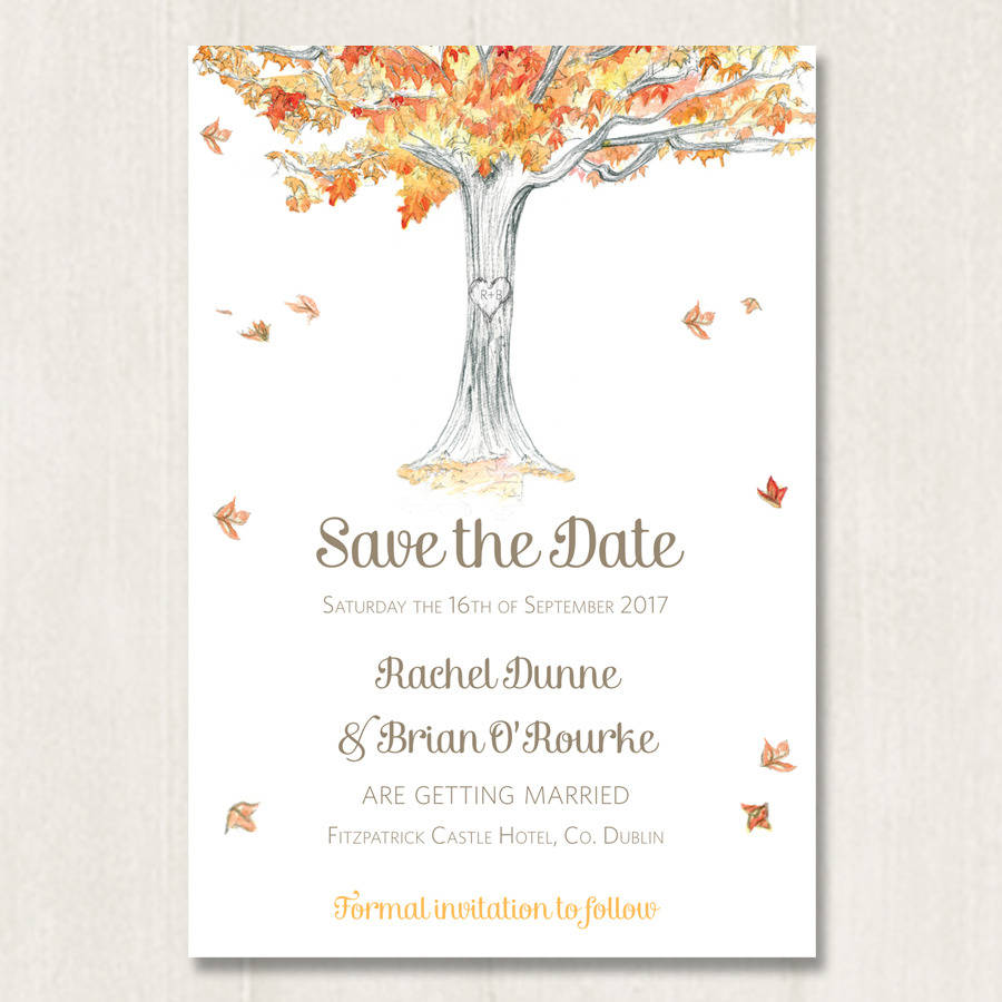 autumn tree save the date by appleberry press