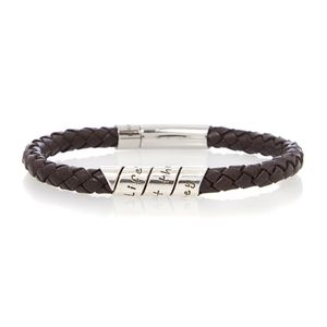 Brown Life's About Scroll Leather Bracelet - men's jewellery